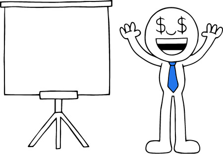 Hand drawn cartoon dollar money eyes businessman arms raised up beside standing white board. Vector