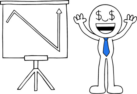 Hand drawn cartoon dollar money eyes businessman hands raised up with standing sales chart arrow suddenly going up symbolizing sudden profits. Vector