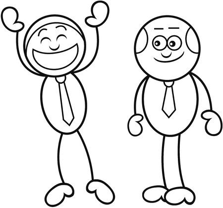 Cartoon boss man and his employee. Vector
