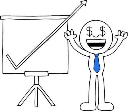 Hand drawn cartoon dollar money eyes businessman hands raised up with sales chart arrow going up off chart symbolizing big profits. Vector