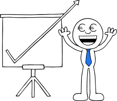 Hand drawn cartoon euro money eyes businessman hands raised up with sales chart arrow going up off chart symbolizing big profits. Vector