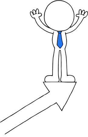 Hand drawn cartoon blank faced businessman standing on arrow and hands raised up. Vector