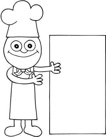 Illustration of black outline drawing of happy male chef showing off big white vertical billboard cartoon. Vector