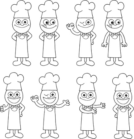 Illustration of black outline hand drawing chef set of eight on white. Vector