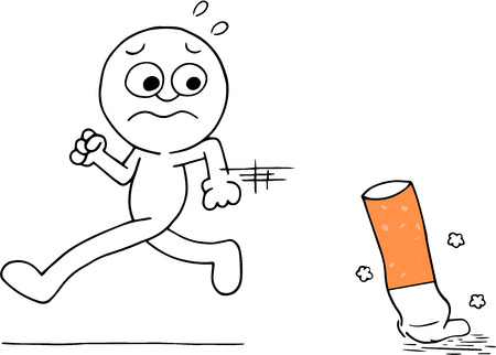 Illustration of scared man running away from cigarette butt cartoon. Vector