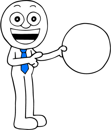 Hand drawn cartoon happy businessman holding blank circle and pointing. Vector