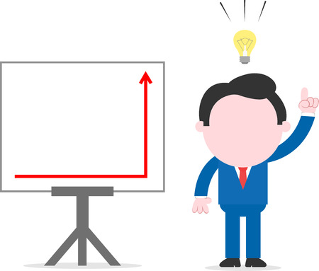 Cartoon businessman with idea standing beside chart with arrow suddenly up on easel Vector