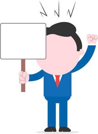 Vector cartoon faceless mad businessman holding blank placard raising fist. Vector