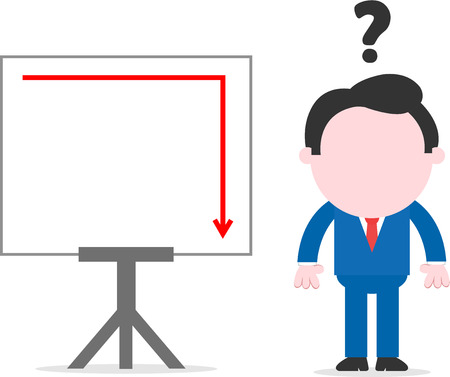Faceless cartoon confused businessman standing hands on sides beside chart with arrow suddenly down Vector