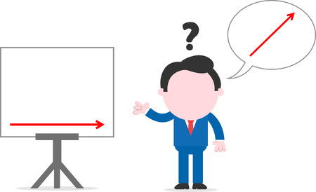Faceless cartoon confused businessman gesturing with arrow up bubble beside chart with arrow level Vector