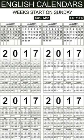 carefully: Four styles English calendars of 2017. Weeks start on sunday. Carefully designed.