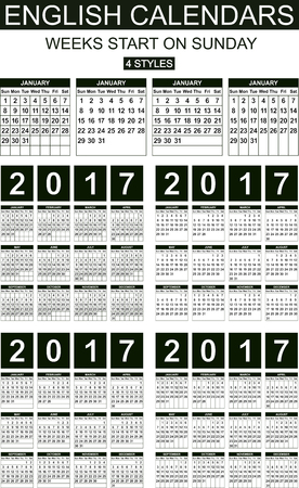 Four styles English calendars of 2017. Weeks start on sunday. Carefully designed.