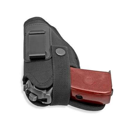Russian handgun in a holster isolated on a white background