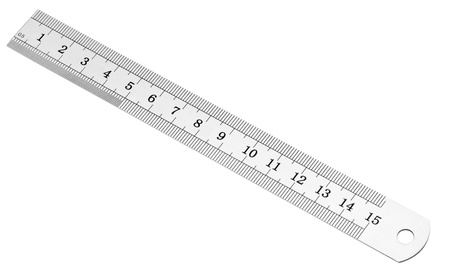 millimetre: Metric and inch steel ruler, isolated on white.