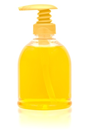 antibacterial soap: Dispenser bottle of liquid soap. Clipping path included.