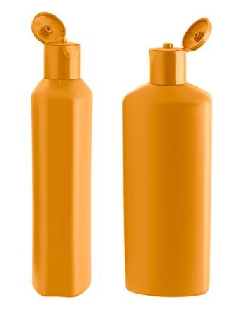 champu: Botella de shampoo naranja dos. Aisladas sobre fondo blanco