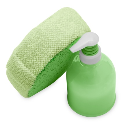 Plastic Bottle with green liquid soap on a white background photo