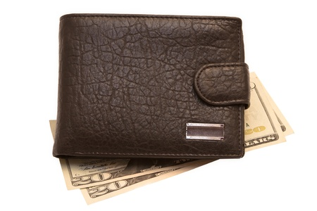black wallet with money isolated on white photo