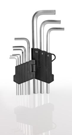 hex key: Hex Key Set. Isolated on white background Stock Photo