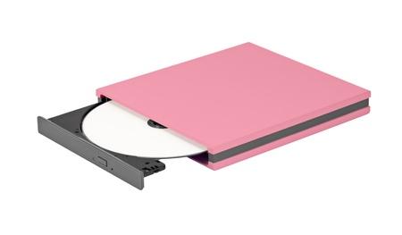 portable rom: Portable slim external CD DVD burner writer isolated on white Stock Photo