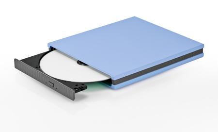 Portable slim external CD DVD burner writer isolated on white Stock Photo - 10101899
