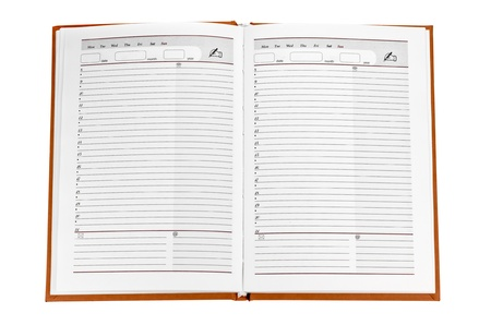 open notebook. Two pages into the line. Isolated on white. Stock Photo - 10387083