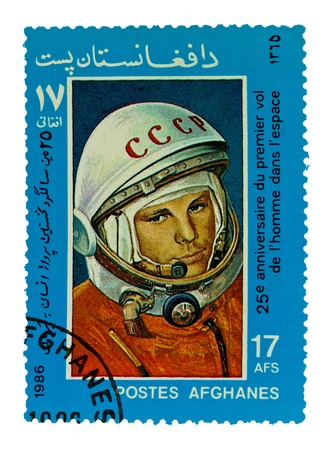 spaceflight: AFGHANES - CIRCA 1986: A stamp printed by Russia, shows Yuri Gagarin (1934-68), circa 1986 Stock Photo