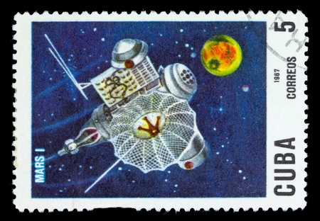 CUBA - CIRCA 1967 : stamp printed in Cuba shows the soviet Mars space station, circa 1967