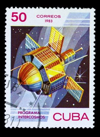 yuri: CUBA - CIRCA 1983: A stamp printed in the Cuba shows French space satellite, circa 1983 . Big space series Stock Photo