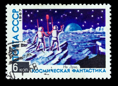 orbital station: USSR - CIRCA 1967: A Stamp printed in the USSR shows the space fantasy, circa 1967