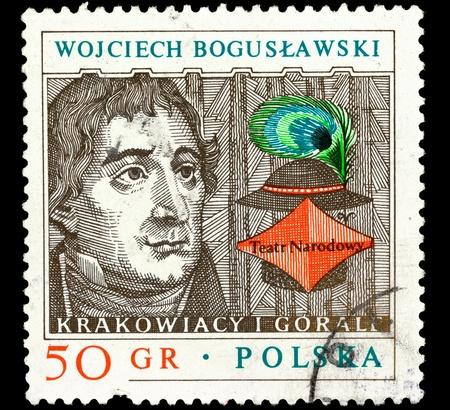 POLAND - CIRCA 1980. A stamp printed in Poland shows portrait of Polish actor, theater director and playwright Wojciech Boguslawski, circa 1980