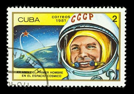 gagarin: CUBA - CIRCA 1981. A stamp printed in the Cuba shows cosmonaut Yuri Gagarin, one stamp from a series, circa 1981.