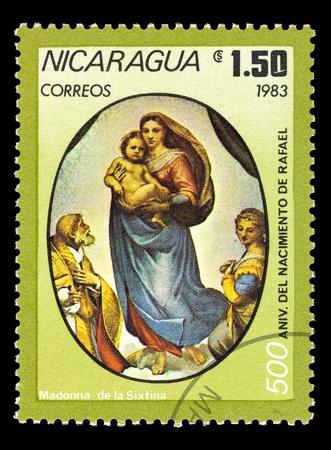 memling: NICARAGUA - CIRCA 1983. A stamp printed in madonna de la sixtina, circa 1983