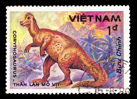 VIETNAM - CIRCA 1984: A stamp printed in Vietnam shows Corythosaurus, series devoted to prehistoric animals, circa 1984 photo