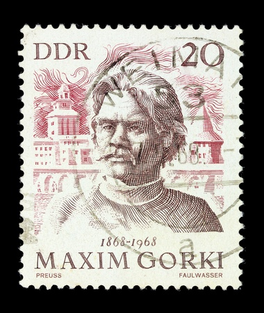 west of germany: WEST GERMANY - CIRCA 1971. A stamp printed in West Germany Russian writer Maxim Gorki, series, circa 1971