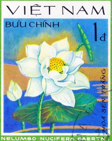 indian postal stamp: VIETNAM - CIRCA 1978: A stamp printed in Vietnam shows Indian lotus - Nelumbo Nucifera, series, circa 1978