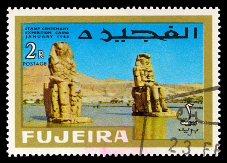 nile: FUJEIRA - CIRCA 1966: A stamp printed in Fujeira (UAE) shows Sphinxes on the Nile with inscription and name of the series Stamp Centenary Exhibition, Cairo, January 1966, circa 1966