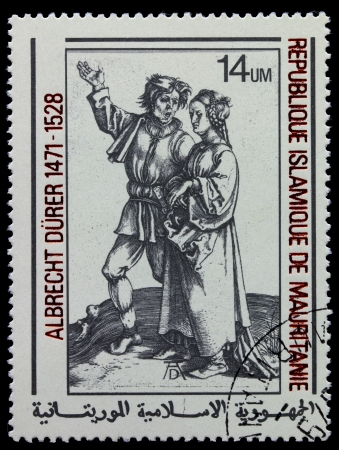 durer: MAURITANIE - CIRCA 1978: A stamp printed in Islamic Republic Mauritanie shows engraver by Albrecht Durer &quot,Peasant and Peasant woman&quot, circa 1978