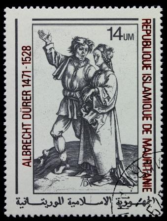 """engraver: MAURITANIE - CIRCA 1978: Un timbro stampato in Repubblica Islamica della Mauritania mostra incisore di Albrecht Durer """", dei contadini e contadino donna"""", circa 1978"""