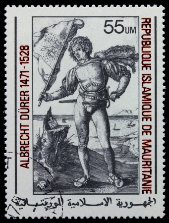 printmaker: MAURITANIE - CIRCA 1978: A stamp printed in Islamic Republic Mauritanie shows engraver by Albrecht Durer Gonfalonier, circa 1978