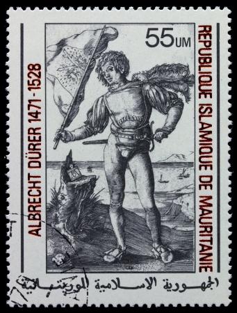 """engraver: MAURITANIE - CIRCA 1978: Un timbro stampato in Repubblica Islamica della Mauritania incisore mostra di Albrecht Durer """"gonfaloniere"""", circa 1978"""