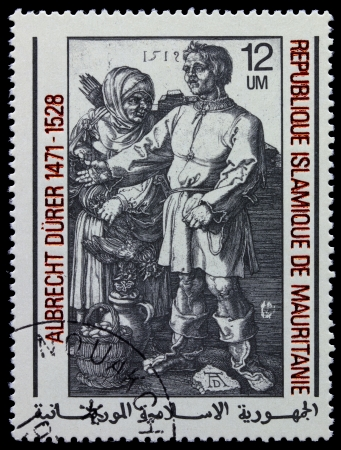 MAURITANIE - CIRCA 1978: A stamp printed in Islamic Republic Mauritanie shows engraver by Albrecht Durer Farmers at the fair, circa 1978 photo
