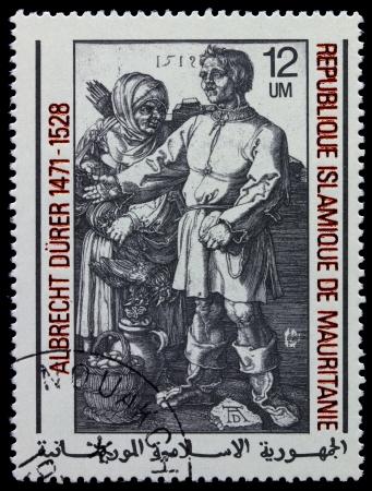 albrecht: MAURITANIE - CIRCA 1978: A stamp printed in Islamic Republic Mauritanie shows engraver by Albrecht Durer Farmers at the fair, circa 1978