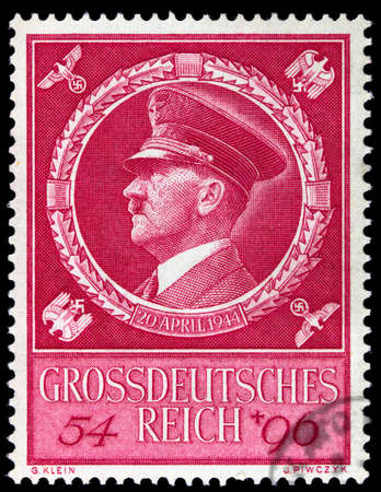 adolf: GERMAN REICH - CIRCA 1944: A stamp printed in Germany shows image of Adolf Hitler, circa, 1944 Editorial