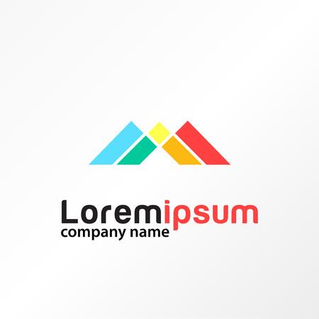 letter m colorful media logo template Illustration