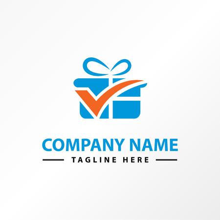 check box surprise logo template Illustration