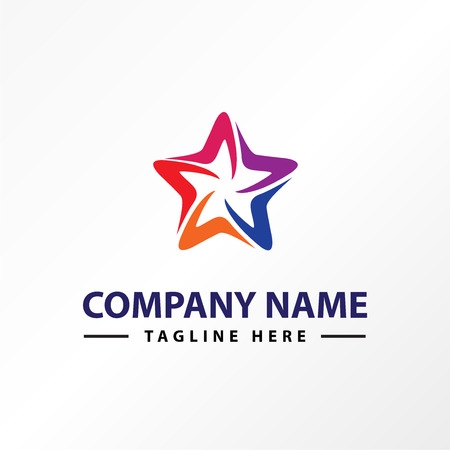 Star colorful style logo template.