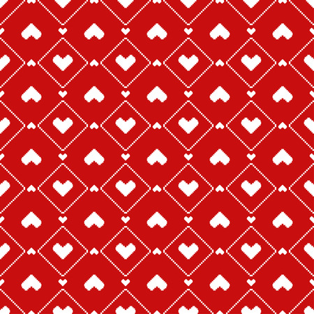 red hearts: Pixel Hearts seamless Pattern
