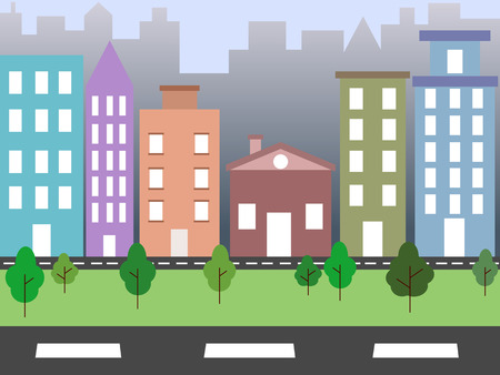 coloured background: City environment