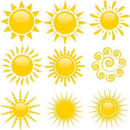 Set van zonpictogrammen Stockfoto